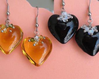 Handmade Glass Heart & Swarovski Crystal Earrings - 1 Pair - CHOICE OF COLOR