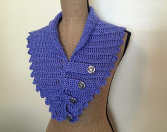 1930s Style Periwinkle Crocheted Neckwarmer, Scarf, Buttons and Tabs