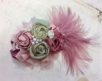 Rose & Sage rosette headband/ hairclip