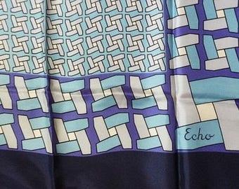 Echo Silk Gorgeous vintage Scarf-Pin Wheel Design Silk scarf