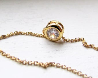 CZ Rhinestone Necklace Cubic Zirconea Neckace Minimalist Gold Necklace Short Layering Necklace Wedding Bridesmaids Gift Bridal Jewelry
