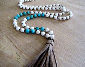 Long Tassel Necklace Boho Necklace Turquoise Necklace Boho Jewelry Southwest Jewelry Leather Suede Tassel Necklace Bohemian Necklace Casual