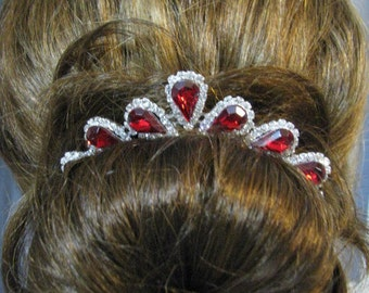 Red Siam prom Wedding hair Jewelry Bridal prom jewelry - Bridal Jewelry - Wedding Necklace - bridal set- Bridal Party Jewelry