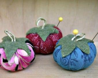 Cherry Tomato Pincushions - Set of Three (Grab Bag)