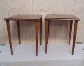 Pair of Solid Wood Mid Century Modern Occasional or End Tables Very Good Condition great for Custom Painting and Restaining
