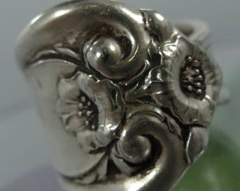 size 6.5 Spoon Ring : Vintage Chunky Wide Flower Rose Spoon Ring (9905)