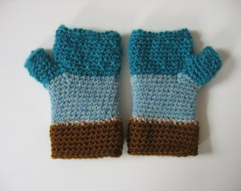 fingerless gloves turquoise and brown