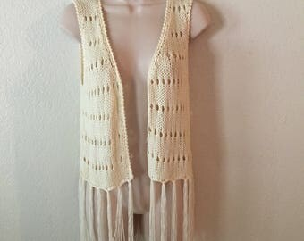 Amazing Vintage Cream Colored Crocheted Fringe 60's/70's Vest