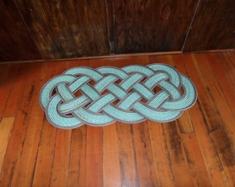 """40"""" x 18"""" Rope Rug Green with Double Brown Accent Perfect at Lake, Beach, Cabin,Nautical Rustic Doormat"""