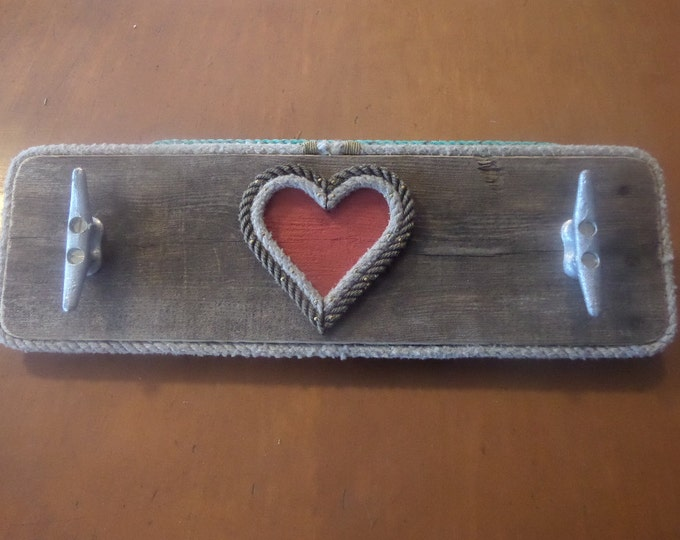 Coat Rack Distressed Pallet Rope Heart Cleats 2 Cleat Hooks Valentines Gift Cabin Rustic Nautical