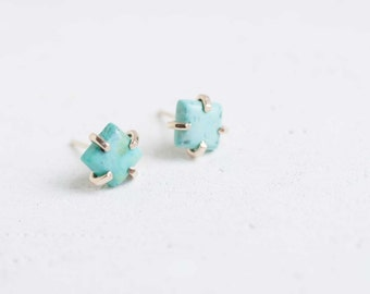 Turquoise Square Earrings | 14k Recycled Gold