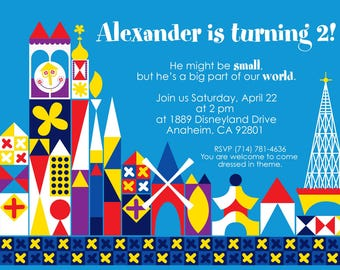 "it's a small world birthday party invitation ""boy"" - printable 4x6 or 5x7"