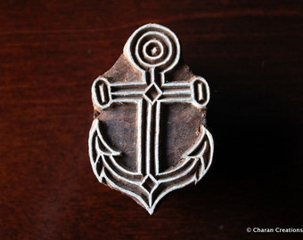 Indian Wood Stamps, Blockprint Stamps, Tjaps, Pottery Stamps, Nautical, Marine- Anchor