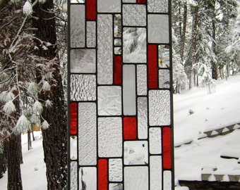 Clear Architectural Glass Stained Glass Window with Red Accents