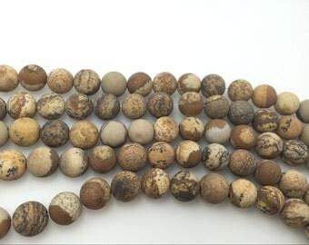 4mm / 6mm / 8 mm / 10mm / 12mm Round Matte Picture Jasper 15''L, 38 cm Loose beads Semiprecious Gemstone Bead Wholesale Beads Supply