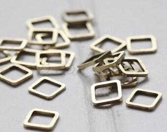 40 Pieces / Raw Brass / Brass Base / Charm / Square (C3590//V38)