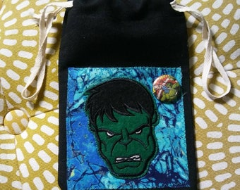 The Incredible Hulk drawstring wristlet small black pouch remnants fabric patch button Marvel comic bag
