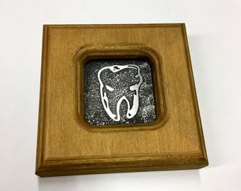 Tooth - Etched Stainless Wall Art - Handmade, Frame and All