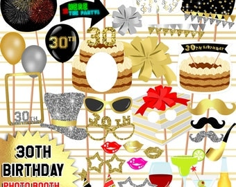 30th Birthday Photo Booth Props - 36 Props Printable, Photo Booth props set, Printable photo booth props - INSTANT DOWNLOAD