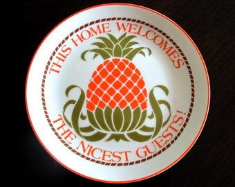 Welcome Pineapple Plate American Greetings Lasting Memories 1980s // This Home Welcomes The Nicest Guests