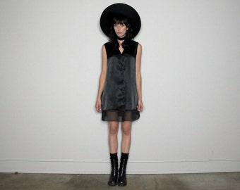 Lingerie Style BLACK DRESS Longline Shirt Silky Goth Modern 90s Vintage Size M/L
