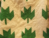Vintage Green and White Quilt in Maple Leaf Pattern