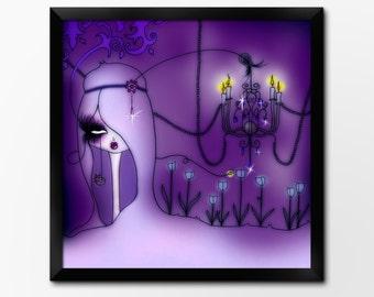 Wall Art Printable, Big Eyed Gothic Fantasy Art, Instant Download Illustration by Sleepy Cloud Studios