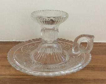 Vintage Pressed Glass Candlestick Holder