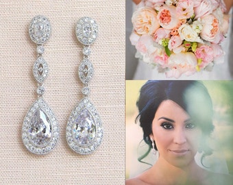 Crystal Bridal earrings  Wedding jewelry Swarovski Crystal Wedding earrings Bridal jewelry, Christine Earrings