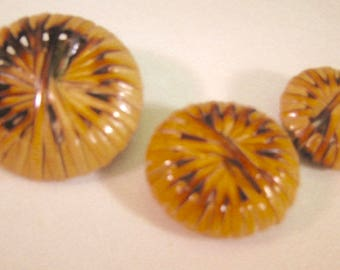 Bamboo Button Lot of 2  .(Vintage) 3 Sizes Extra Large Natural Buttons