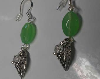 Ayla's Bead Creations Light Jade Green faceted bead with Tibetan silver leaf charm earrings.