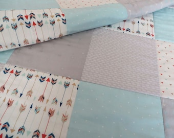Grey Arrows Quilt Personalized Baby Quilt, Mint Green and Grey Quilt Geometric and Arrows, Handmade one of a kind