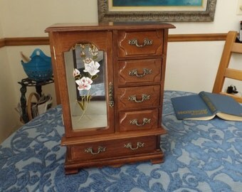 Jewelry box in form of cabinet, 5 drawers,  mirror, one door, home decor.jewelry organizer. Large jewelry box.