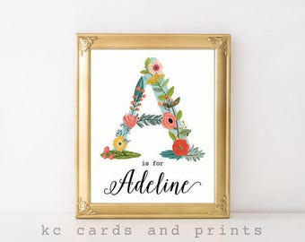 Nursery Name Art, Adeline, Personalized Nursery Art, New Baby Gift, Nursery Name Print, Baby Girl Nursery, Baby Shower Gift, Digital Print