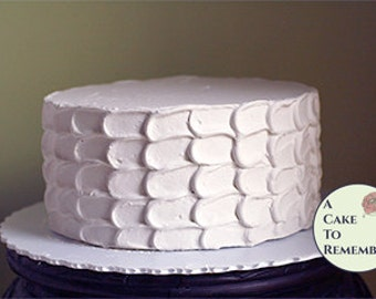 "8"" round faux cake, petal icing fake cake wedding cake topper display. Dummy cake for photo shoots or home staging, food theatrical prop"