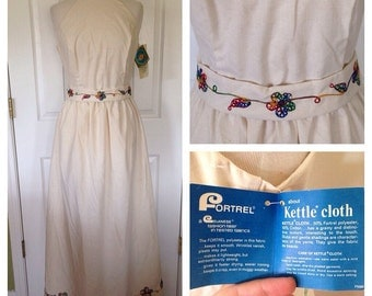 1960s Deadstock Cream Embroidered Maxi Dress - Kettle Cloth