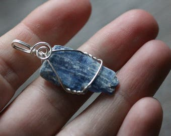 Kyanite Wire Wrapped Silver Pendant  #7720