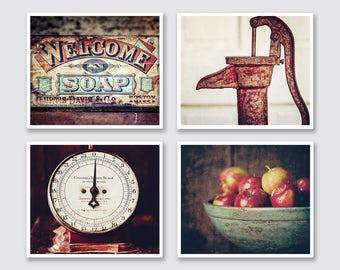 Red Farmhouse Kitchen Decor, Red Kitchen Decor, Country Kitchen Wall Art, Rustic Kitchen Wall Art Decor, Set of 4 Prints or Canvas Wraps.
