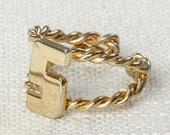 Letter S Vintage Ring Gold Braided Band Number 5 Initial US Womens Size 6 7D