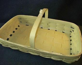 Primitive Heavy Duty Splint Oak Handled Serving Basket