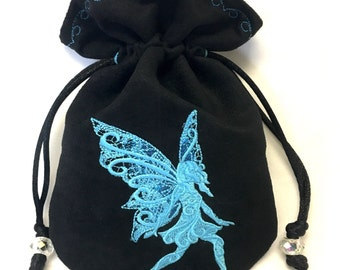 BLUE FAIRY - Embroidered Drawstring Dice Bag, Rune Pouch, Tarot Card Bag made of faux suede - LARP Costume Accessory