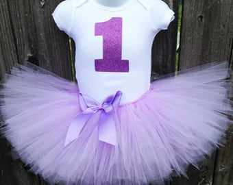 Lavender First Birthday Tutu Outfit with Headband | Glittery 1 Bodysuit and Tutu  | Other Numbers or Initials Available