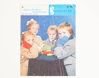 Bairnswear Children's Mittens Vintage Knitting Pattern, Gloves, 1960s Knitting Pattern