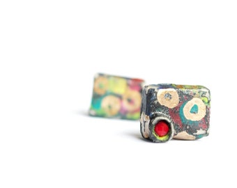 Contemporary, happy chunky, geometrical, painted, abstract ,unique, versatile, colorful earrings - Make me love you