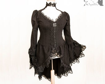 Victorian Steampunk long blouse, waistcoat, goth black, lace, Issoire, Somnia Romantica, size large, see item details for measurements