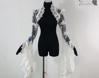Bridal lace bolero, art nouveau shrug, Victorian, ivory, Somnia Romantica, approx size large see item details for measurements