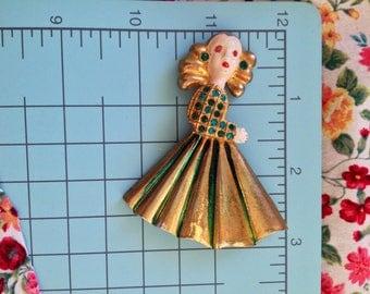 Calvaire brooch enamel Rhinestone Jewels 1941 VINTAGE Figural Collector Book Piece WOW!  Rhinestone Eyese Jacket Figural Lady LARGE Unsigned
