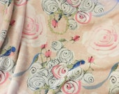 Throw Blanket, Blanket, Pink Watercolor Roses on Blush with hand-drawn flowers and bluebirds