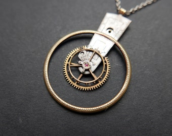 "Watch Parts Pendant ""Elnath"" Elegant Intricate Mechanical Watch Sculpture Necklace Industrial Steampunk Wearable Art Mechanical Mind"