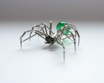 Watch Parts Spider Sculpture No 82 Recycled Watch Parts Clockwork Arachnid Figurine Stems Lightbulb Arthropod A Mechanical Mind Gershenson